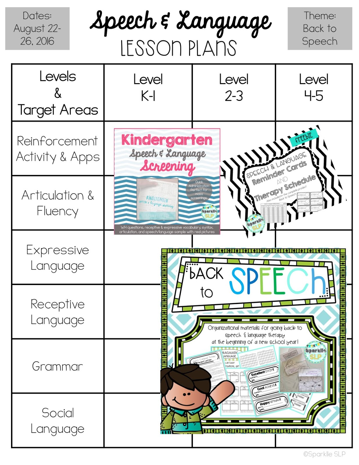 Speech And Language Lesson Plans For August Sparklle Slp