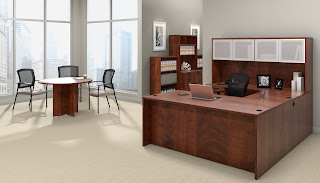 Dark Cherry Executive Workstation with Meeting Table