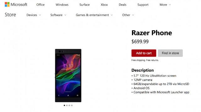 Microsoft Store tercyduk menjual Smartphone Gaming dari Razer-anditii.web.id