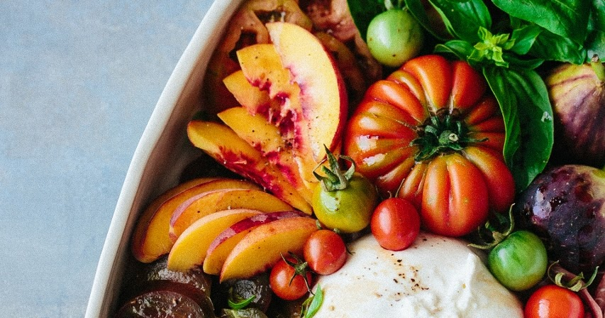Beyond Sweet and Savory: Tomato fig peach prosciutto and burrata salad
