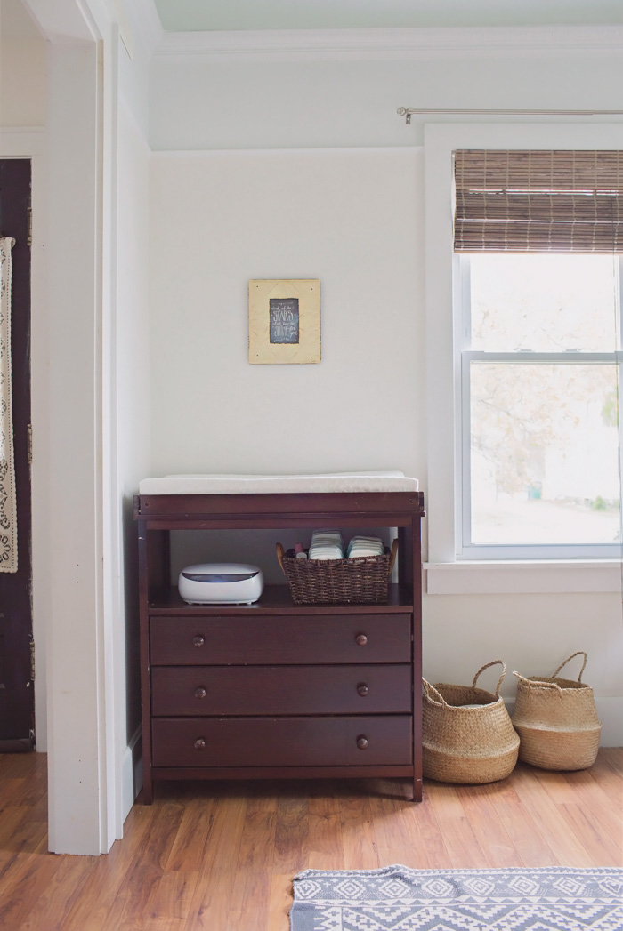 Baby changing table area in home office staged to sell