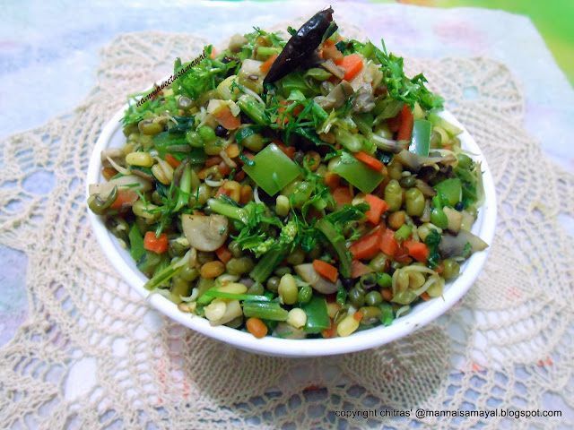 Kusum Greens Stir fry with sprouted green gram