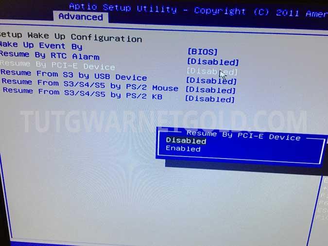 Cara Setting Wake On LAN BIOS