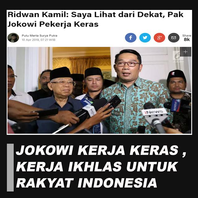 Ridwan Kamil: Saya Lihat dari Dekat, Pak Jokowi Pekerja Keras