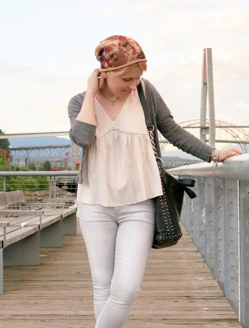 drapey top, skinny jeans, shrunken cardigan, floral beanie, MK bag