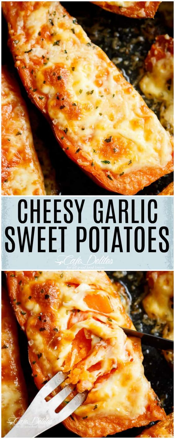 Cheesy Garlic Sweet Potatoes #sidedish #snack #garlic #potato