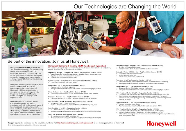 Honeywell Freshers Recruitment 2016