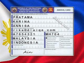 Kartu Kedatangan (Arrival Card) - Filipina