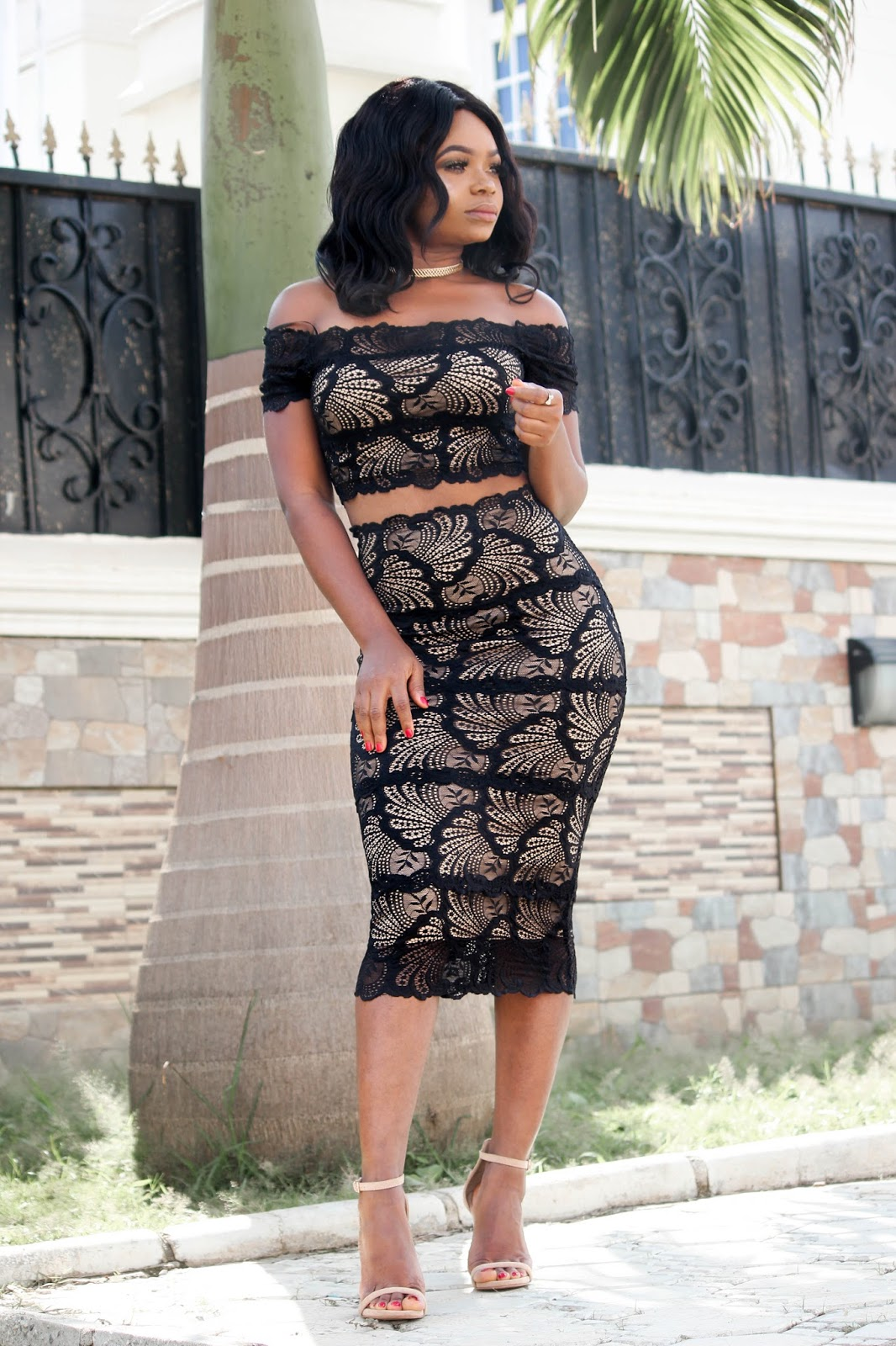 NUDE ILLUSION - Hotmiamistyles Black Lace Nude Illusion Off Shoulder Two Piece Set