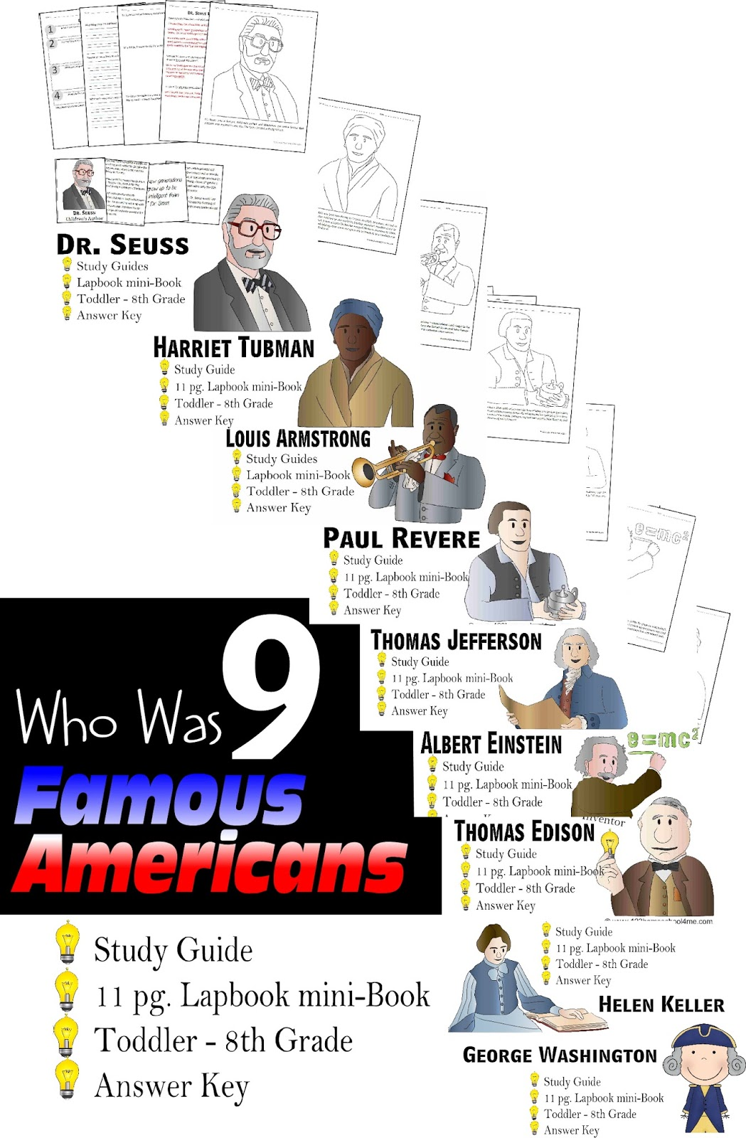 9 Who Was Famous Americans Study Guides Amp Lapbooks