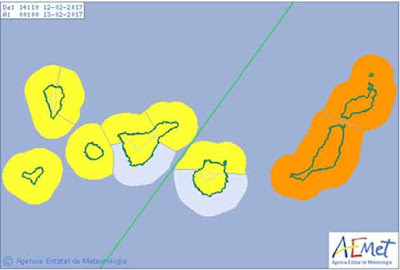 Solo quedan en aviso naranja las islas de Lanzarote y Fuerteventura por vientos y costeros; las demás islas en amarillo
