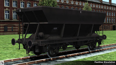 Fastline Simulation: Maroon liveried HEA coal hopper recoded as an RNA barrier wagon.
