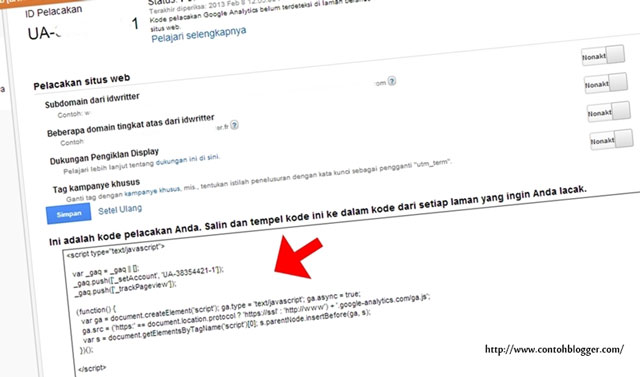 Cara Memasang Code Google Analytics di Blogger