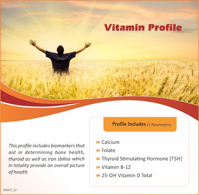 Aarogyam Vitamin Profile With Calcium + Folic Acid + Vitamin B-12 + 25-OH Vitamin D Total @ Rs 1000 / 5 Tests