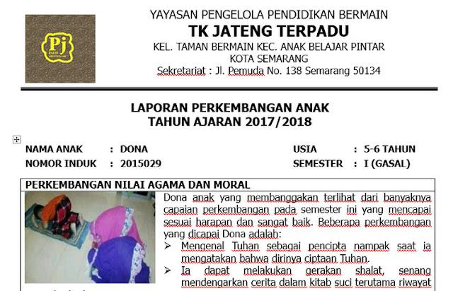 Raport PAUD KK 13 Terbaru+ Contoh Pengisian Raport