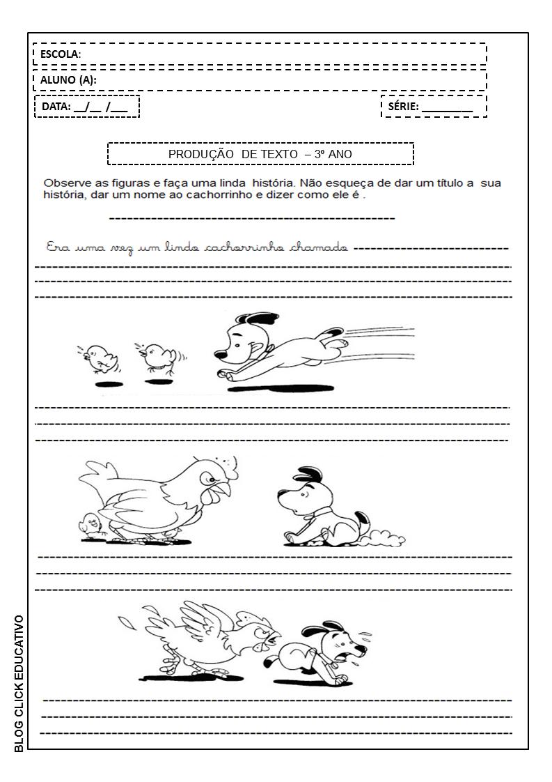Producao De Texto Para 3º Ano Imprimir E Colorir Clicks Educativos