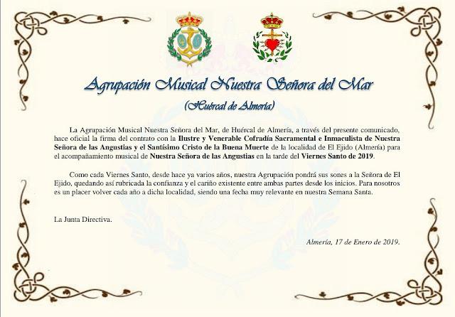 La Agrupación Musical Nuestra Señora del Mar de Almería renueva el Viernes Santo