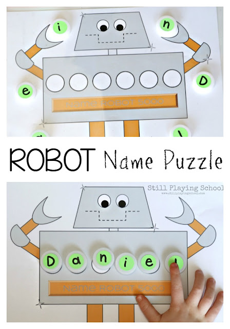 Kids learn to read, spell, and write their name with this free robot name puzzle mat!