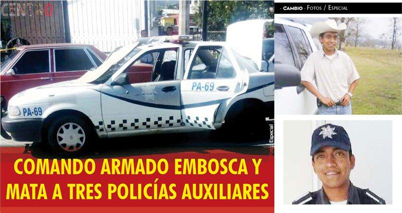 Comando mata a 3 policías en asalto en Huauchinango
