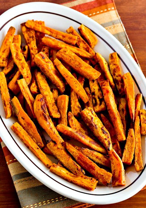 Spicy Sweet Potato Fries found on KalynsKitchen.com