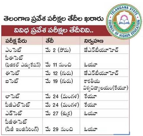 TS CETs 2016 Dates, Schedule,TSCHE Entrance Tests