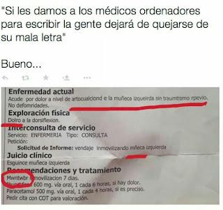 ejemplo de mala letra de los médicos