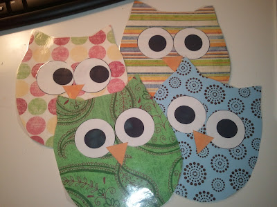 Classroom Decor OWLS made out of scrapbook paper- decorating the classroom with an owl theme