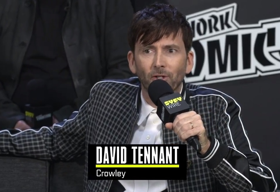 Screencaps of the Good Omens cast interview which streamed online
