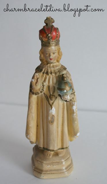 Vintage Infant of Prague chalk statue