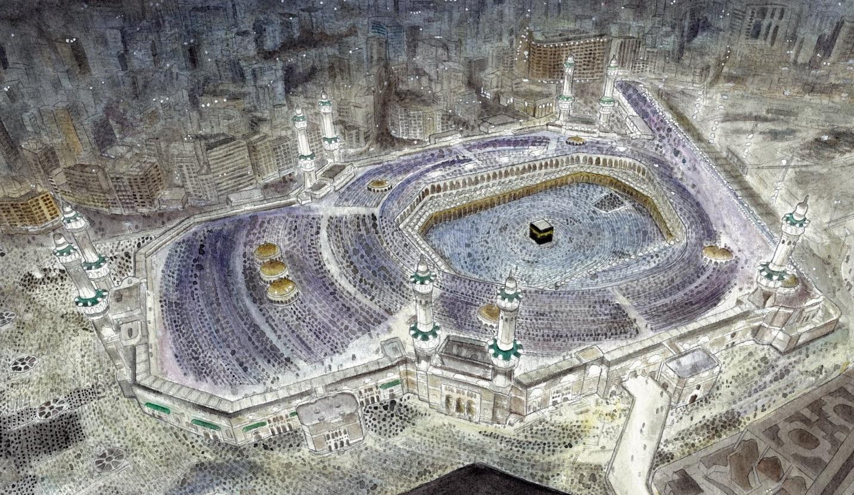 islam daily amazing drawing of masjid al haram