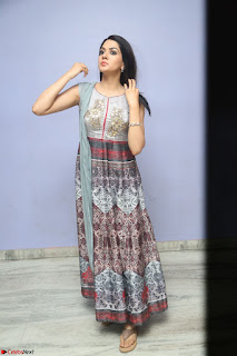 Sakshi Chaudhary Beautiful Emroidery Work Sleeveless Anarkali Dress 075.JPG