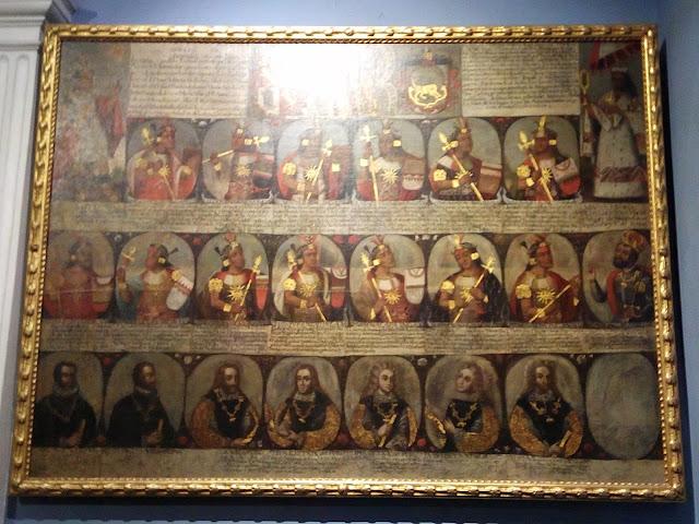 Cuadro con linaje de jefes y reyes en la Catedral de Lima, Perú