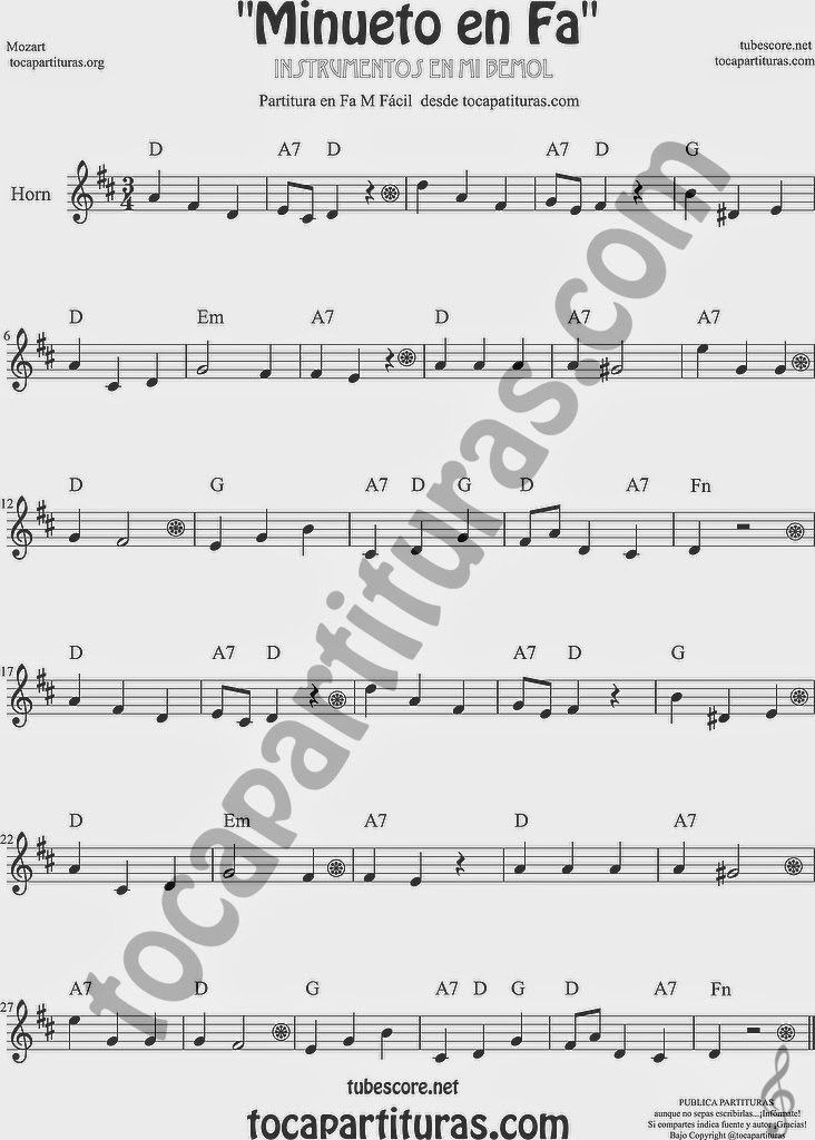 Minueto en Fa Partitura de Trompa y Corno Francés en Mi bemol Sheet Music for French Horn Music Scores