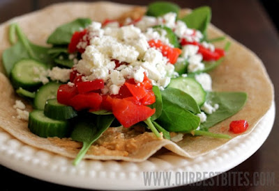 Hummus Feta Wrap Under 500 Calories #healthywraprecipes
