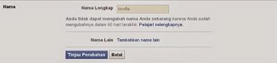 Cara mengganti nama facebook tanpa batas