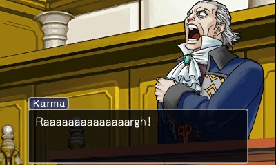 Phoenix Wright Ace Attorney Manfred von Karma screaming clutching shoulder damaged