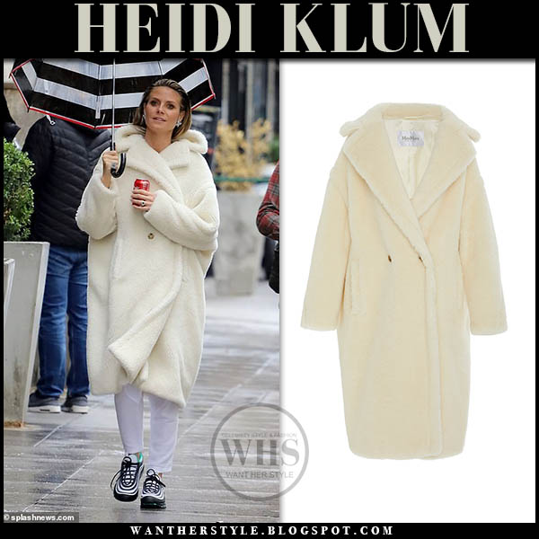 Heidi Klum wears oversized cream teddy max mara coat celebrity winter outerwear february 13
