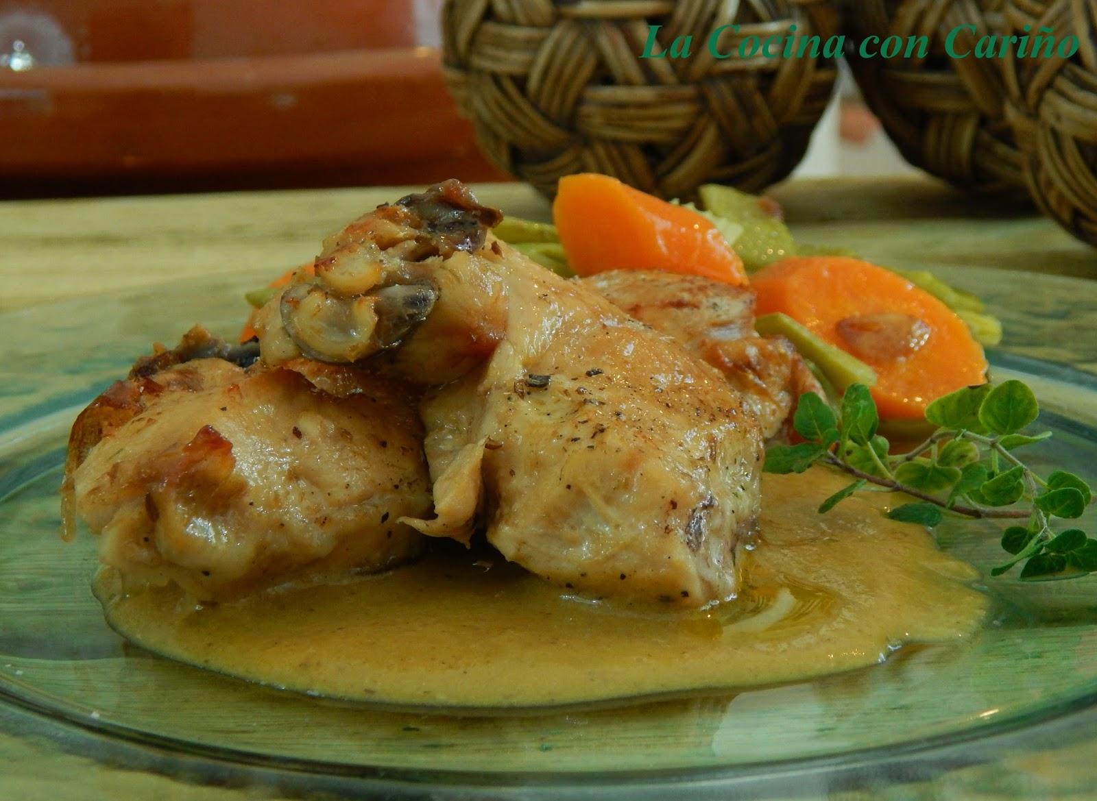 La cocina con cari o pollo al horno con salsa de carne - Salsas para el pollo al horno ...