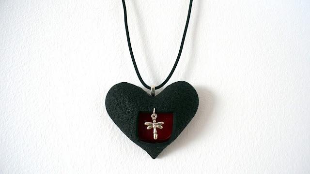 colgante corazon arcilla polimerica san valentin