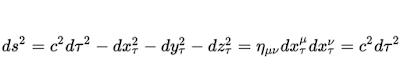 Intervalo relativista en funcion del tiempo propio