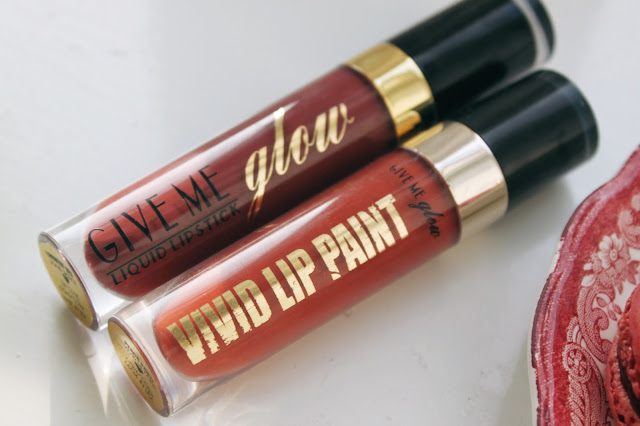 Give Me Glow Cosmetics Liquid Matte Lipsticks Peach Party / Country Red