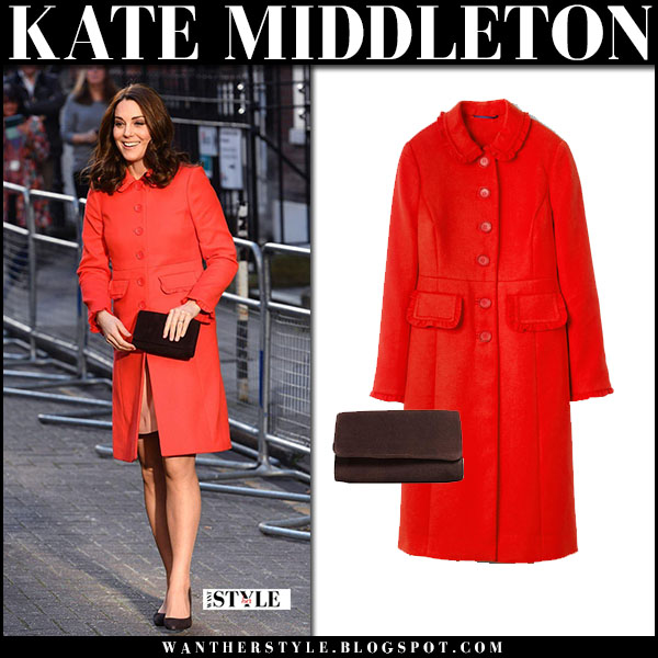 Kate Middleton in red boden coat and suede clutch maternity royal fashion baby bump january 17