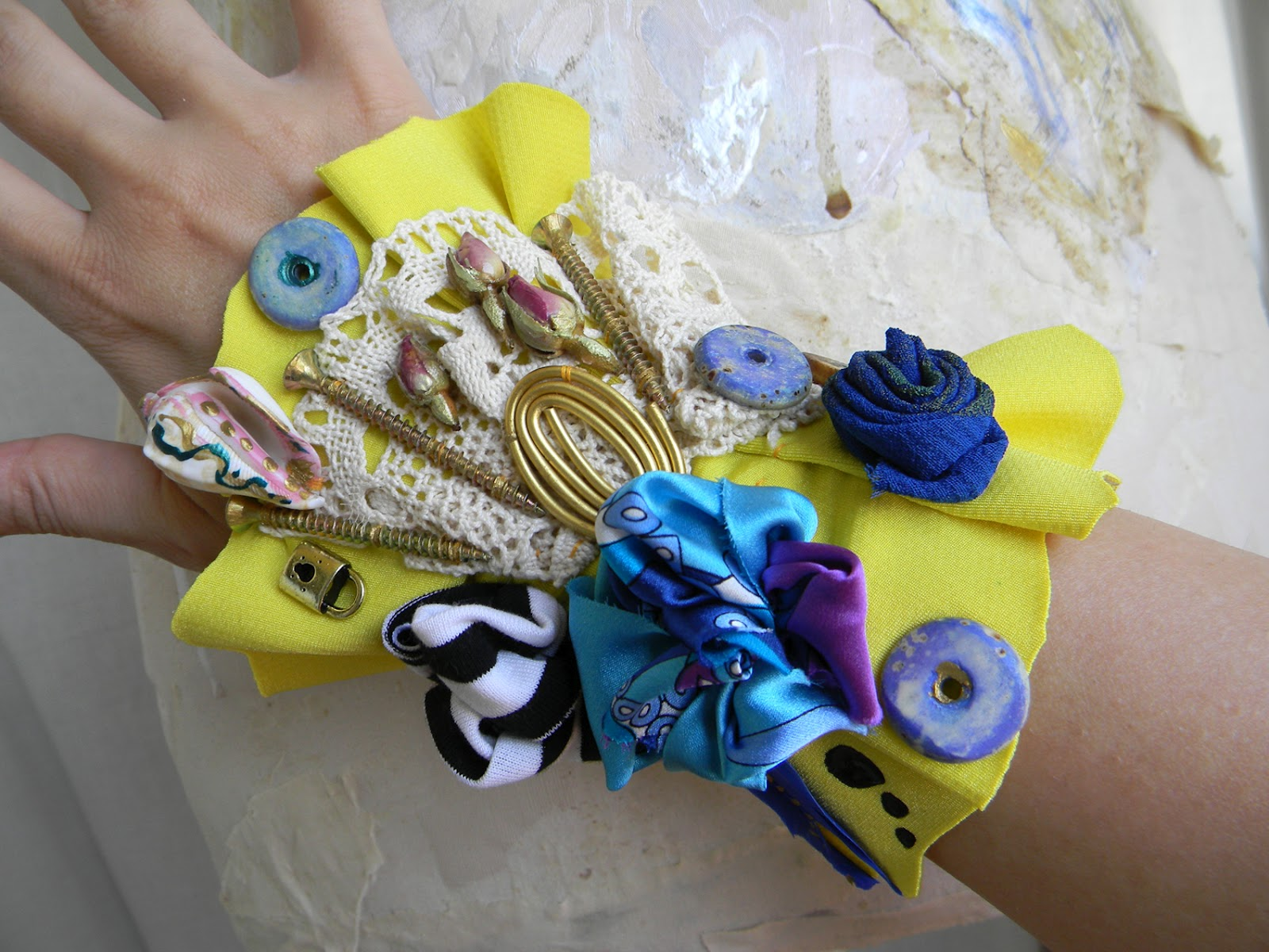 Handmade Textile Lemon Cuff/Mixed Media Steampunk Bracelet