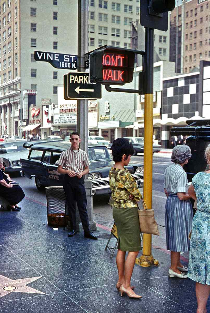 Hollywood & Vine 1960s color photograph