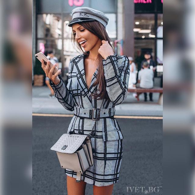 Μακρυμάνικο  μεσάτο γκρι φόρεμα ROMINA