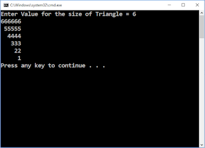 Write C++ Program to draw right triangle up side down using counting