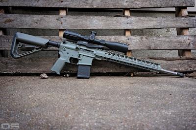 AR-15 rifle, SPR DMR, Exos Defense Ti-7 stock