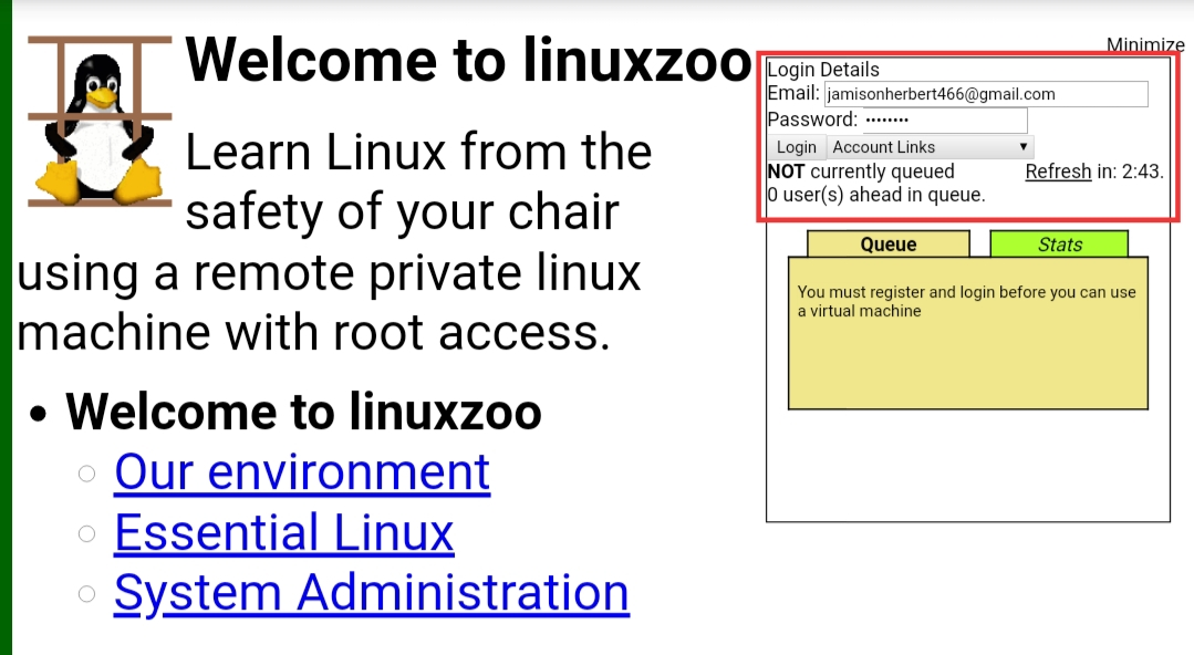 Linuxzoo login