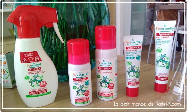 Gamme anti pique de Puressentiel : moustiques, tique , punaises de lit