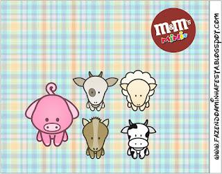 Etiqueta M&M de La Granja Bebés en Celeste para imprimir gratis.